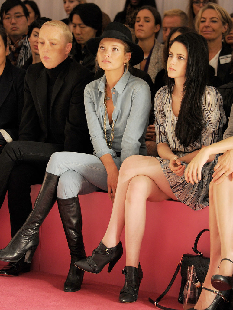 Kate Moss and Kristen Stewart sat front row together at the Mulberry runway show during London Fashion Week at Claridges Hotel in September 2011.