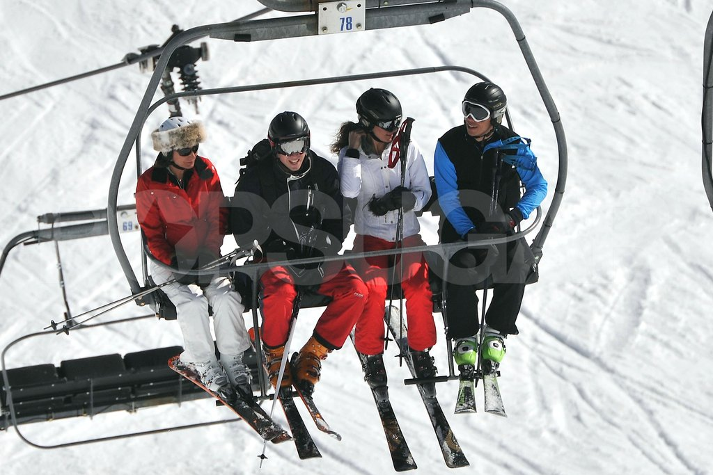 Carole Middleton, Prince William, Kate Middleton, and James Middleton spent time together on the lift while vacationing as a family in France.