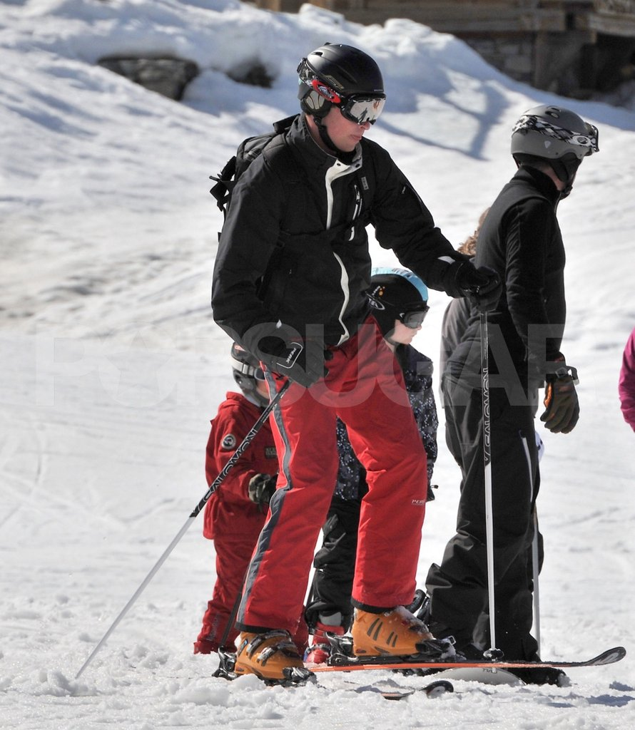 Prince William wore a helmet while on a ski vacation in France.