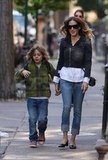 Sarah Jessica Parker walked with her son James Wilkie Broderick in NYC.