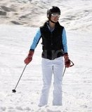 Pippa Middleton wore a helmet while skiing down the mountain on vacation in France.