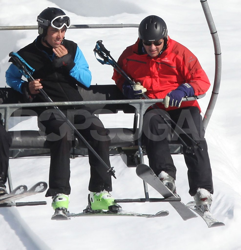 Michael Middleton and son James Middleton checked out the mountain below on the chairlift in France.