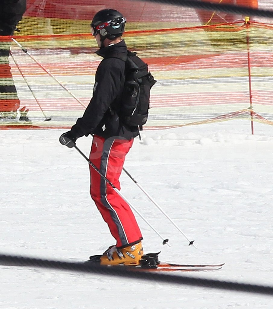 Prince William tested out his skis before heading down the mountain on vacation in France.