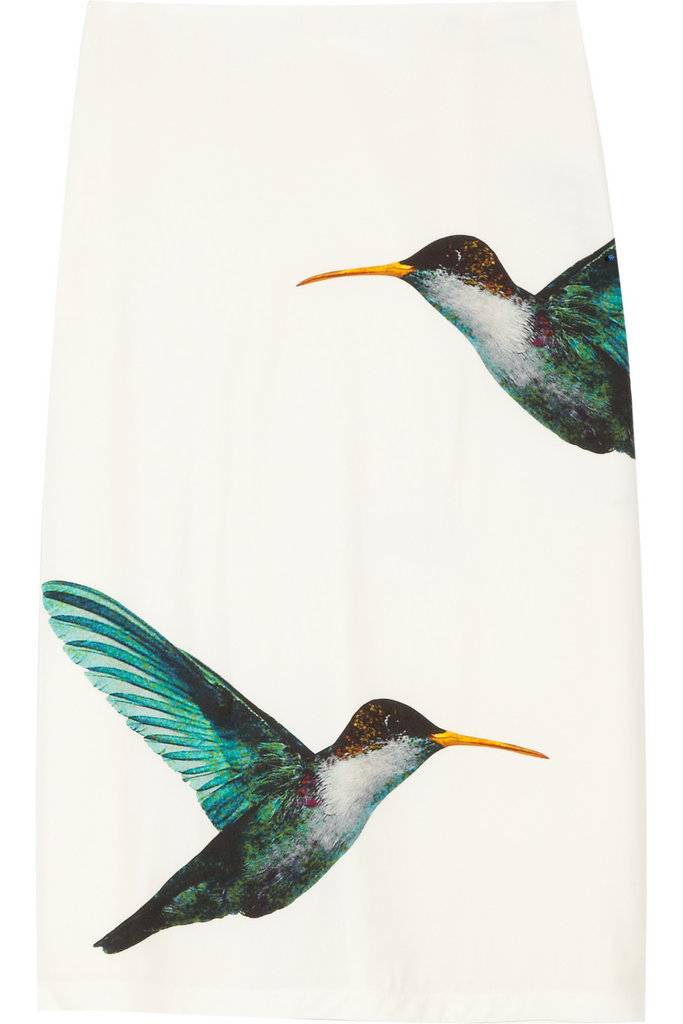 Sure, the price tag is a bit steep, but how cute are those hummingbirds? Paired up with an electric pink sweater and yellow sandals — the key is color. Jil Sander Lapis Hummingbird-Print Satin-Twill Skirt ($1,170)
