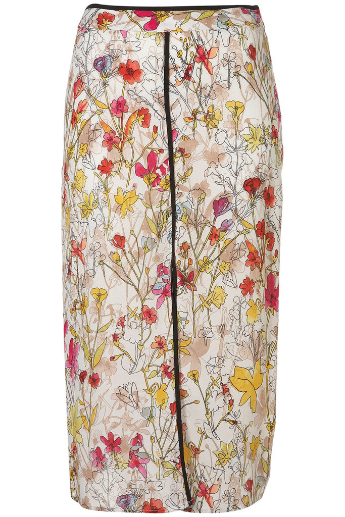 This sketch-style watercolor print is super ladylike, but the front slit adds a bit of spice to the look. Topshop Watercolour Slip Skirt ($80)