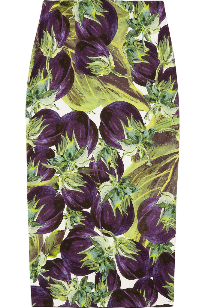 The sophisticated shape takes away form the fact that this skirt is, in fact, printed with colorful purple eggplants. Dolce & Gabbana Eggplant-Print Stretch-Crepe Skirt ($815)