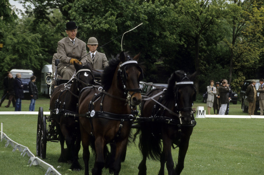 The Duke of Edinburgh participated in carriage driving at the Royal Windsor Horse Show in 1975.