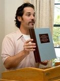 Paul Rudd presented a book-shaped award at the Nantucket Film Festival during June 2003.