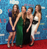 Zosia Mamet, Jemima Kirke, Lena Dunham, and Allison Williams had a laugh at the premiere of HBO's Girls in NYC.