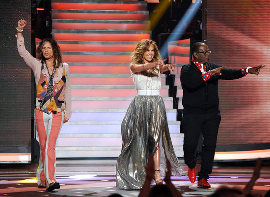 Steven Tyler, Jennifer Lopez, and Randy Jackson got a warm reception from the crowd.