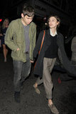 Keira Knightley chatted with her boyfriend James Righton while spending a night out in London.
