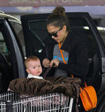 Haven Warren sat in the front of the shopping cart while Jessica Alba shopped in Whole Foods in LA.