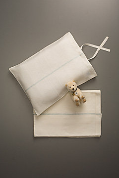 For the Layette: Flora and Henri Linen Sheet Set