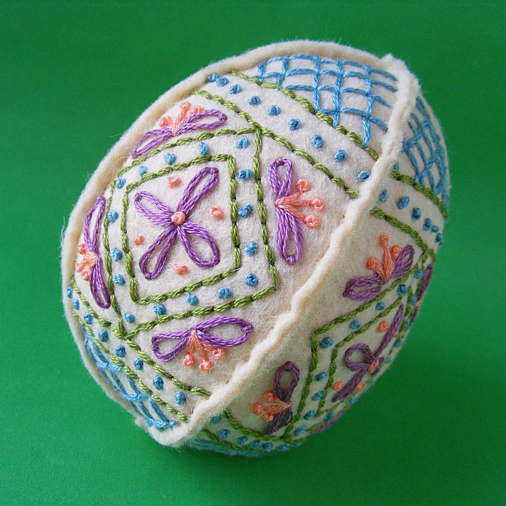 Skip the real eggs and create a felt embroidered egg instead.