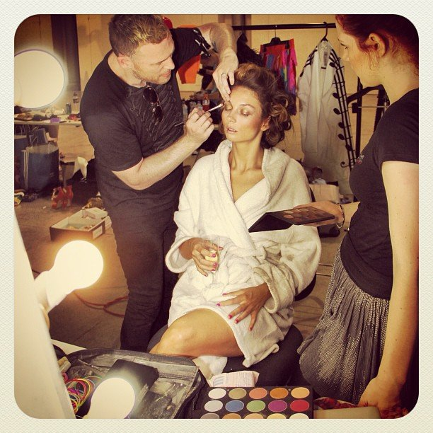 "Ricki-Lee was getting her hair and makeup done on the set of her music video for ""Do It Like That""."