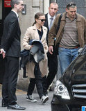 Natalie Portman left her Paris hotel and headed to the airport with son Aleph.