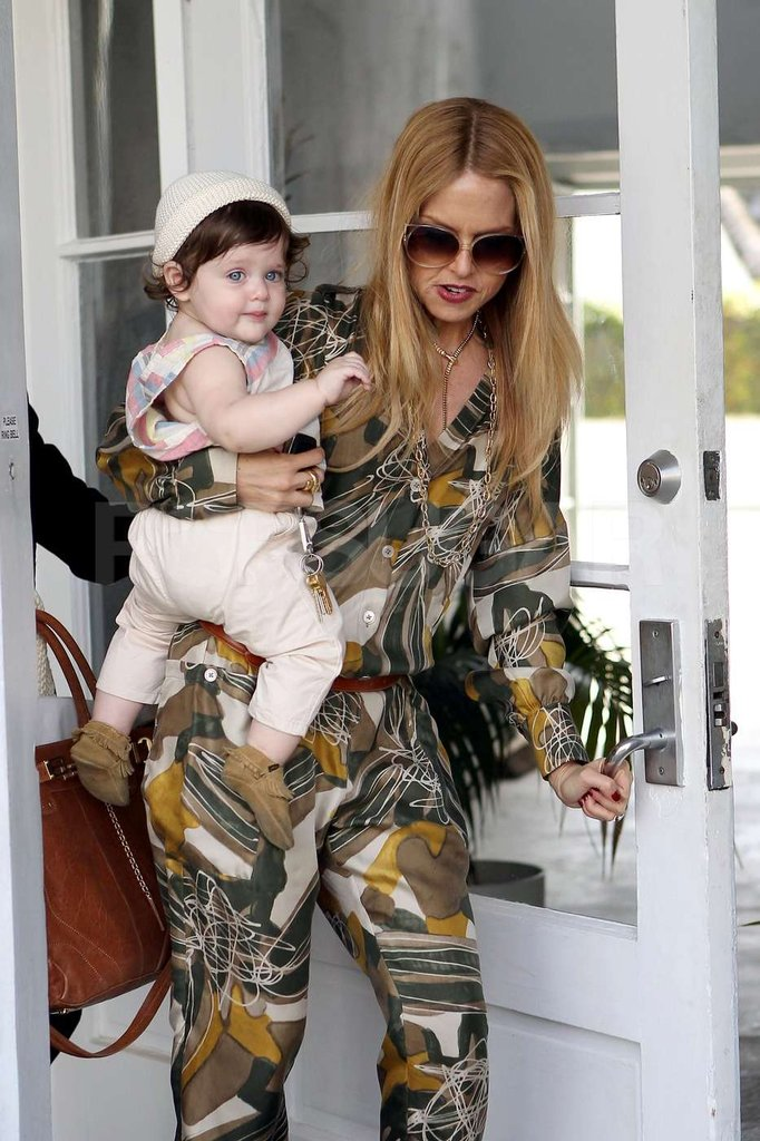 Skyler wore a white knit cap and baby moccasins while shopping with mom Rachel Zoe in West Hollywood.