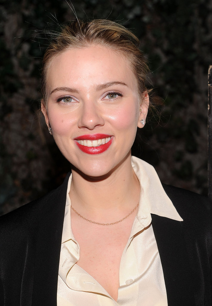 Scarlett Johansson wore bright red lips to host a party for 2013 NYC mayoral candidate Scott Stringer at Manhattan's Maritime Hotel.