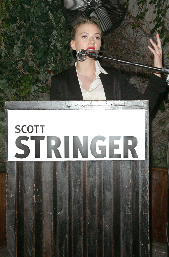 Scarlett Johansson said a few words at a party she hosted at the Maritime Hotel in NYC for Scott Stringer, a 2013 NYC mayoral candidate and family friend.