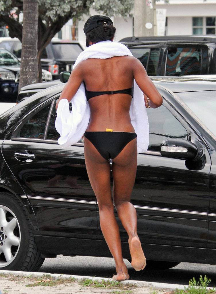 Naomi Campbell showed off her body in a bikini.