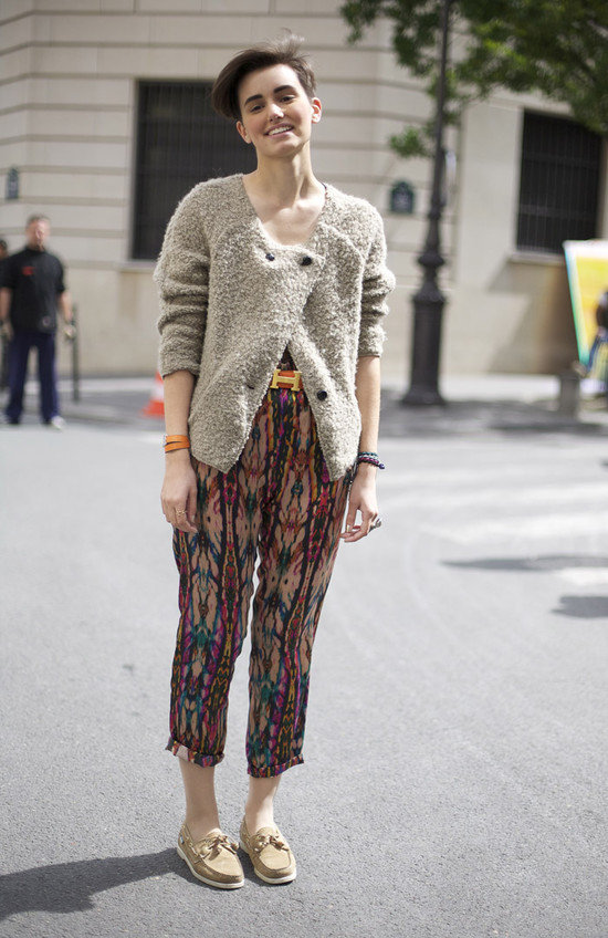 We like how this look paired cute camel boat shoes with tribal printed pants, a nubby cardigan, and a statement belt. We love the mix of patterns and textures.  Photo courtesy of Street Peeper