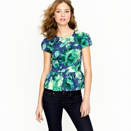 We've got pretty peplum on the brain for Spring, and we love the thought of this version dressing up a pair of skinny pants for Easter brunch.  J.Crew Peplum Top in Fesco Floral Sateen ($350)