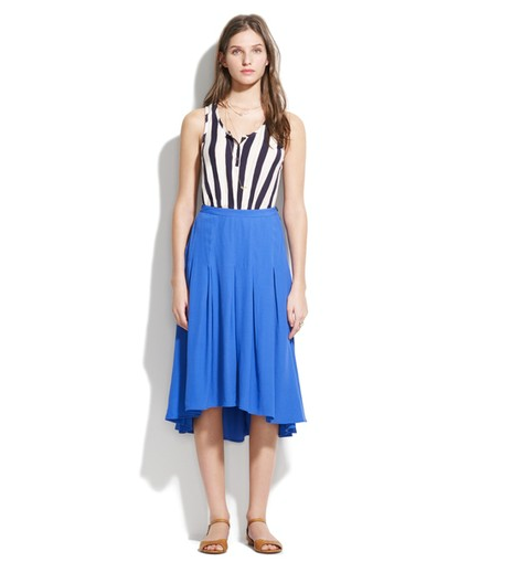 This easy pleated skirt is a perfect way to dress up without trying too hard.  Madewell Willowbrush skirt ($158)