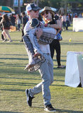 Chord Overstreet carried Emma Roberts through the grounds.