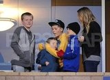 Romeo Beckham, Brooklyn Beckham, Jack Ramsay, and Cruz Beckham watched the LA Galaxy.
