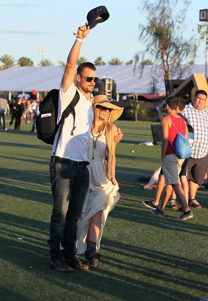 Fergie and Josh Duhamel posed for a picture at Coachella on Saturday.