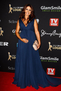 Ada Nicodemou Hits The 2012 Logie Awards Red Carpet in a Maternity-Friendly Blue Gown