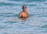 Beyoncé went swimming in St. Barts.