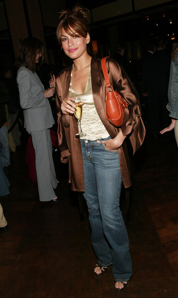 Eva Mendes wore a silky ensemble to the official Tribeca Film Festival afterparty at the Tribeca Grand Hotel in May 2004.