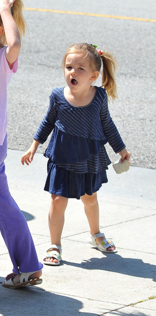 Seraphina Affleck wore a blue dress.