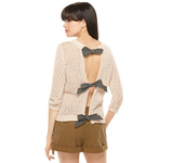 From the front it's just a cute open-weave sweater, but from the back, it offers up a sexy flash of skin via three bow-back cutouts. RACHEL Rachel Roy Open Back Bows Sweater ($79)
