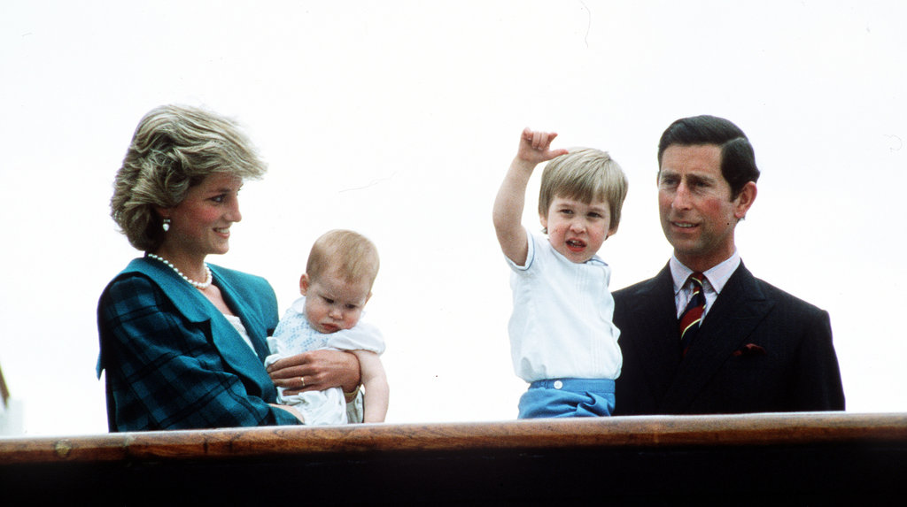 Prince Charles, Princess Diana, Prince William, and Prince Harry cruised on the Royal Yacht Britannia during May 1985.