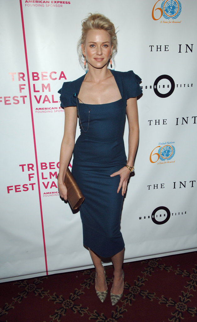 Naomi Watts donned a tight blue dress for The Interpreter premiere at the fourth annual Tribeca Film Festival in April 2005.