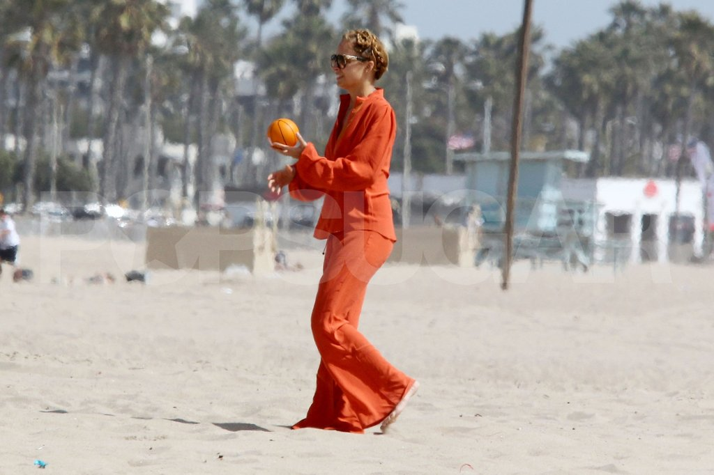 Nicole Richie tossed the ball to her kids on the beach in Malibu for Easter.