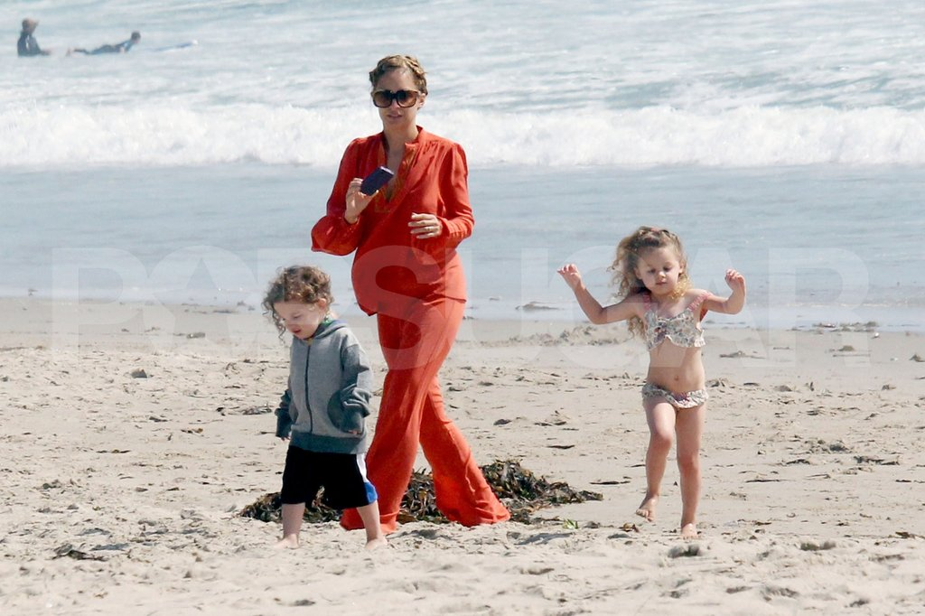 Nicole Richie wore an all-orange ensemble to the beach with her kids Sparrow and Harlow in Malibu.