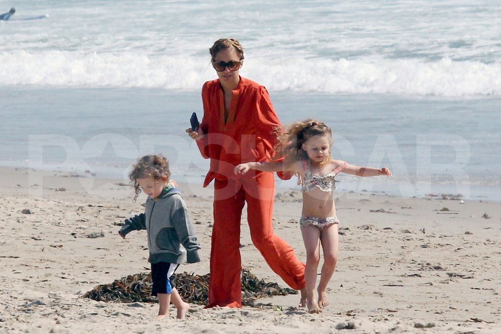 Nicole Richie hung out with Harlow, in a tiny bikini, and Sparrow on the beach in Malibu.