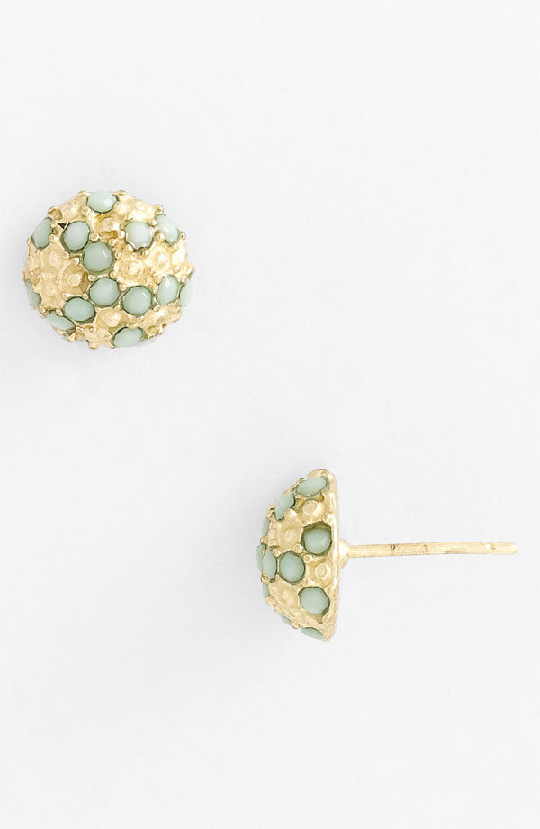 We love the ladylike quality of this sweet, jeweled pair.  Rachel Enamel Pave Stud Earrings ($10)