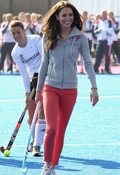 Kate Middleton in coral JBrand skinny jeans