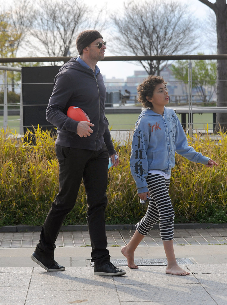 Hugh Jackman Joins His Barefoot Wife and Son For a Family Football Game