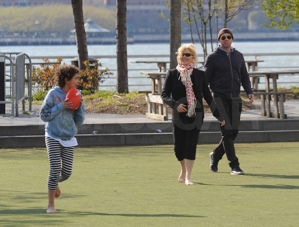Hugh Jackman Joins His Barefoot Wife and Son For a Family Football