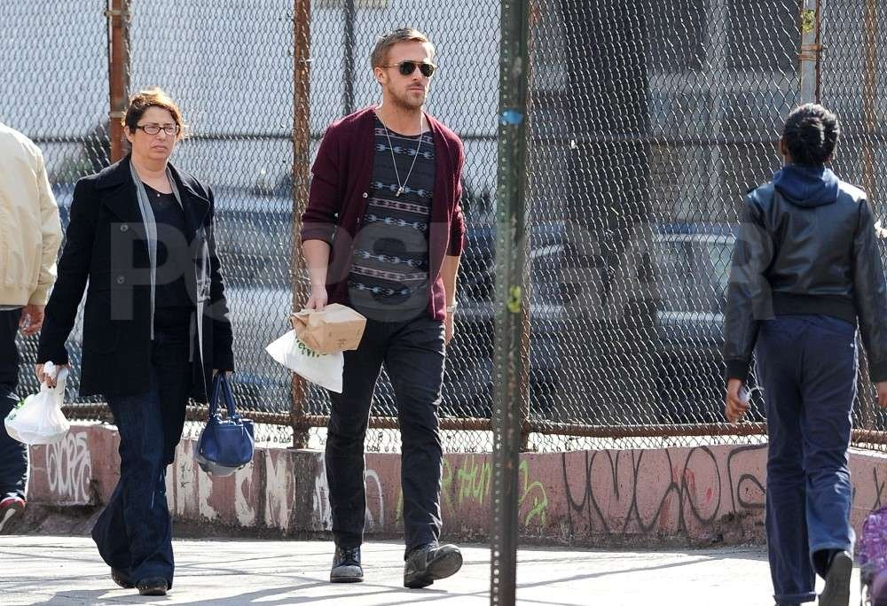 Ryan Gosling wore sunglasses and a maroon cardigan around NYC.