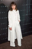 Noomi Rapace went with an all-white ensemble for the Prometheus premiere in Paris.