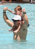 Shirtless Mark Wahlberg Makes a Poolside Splash With His Family