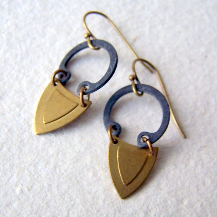 With a silky blouse and cropped trousers, these structured shield earrings would edge up a tailored look. All the materials used to make this pair have been upcycled. Brass Shield Earrings ($22)