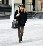 Elizabeth Olsen's vibe was perfectly city-cool, thanks to a slick fedora.
