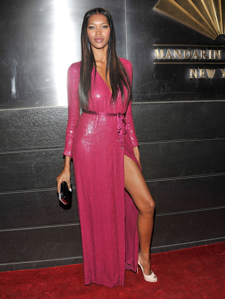 Jessica White showed off her sexy legs in a sequined Diane von Furstenberg gown.